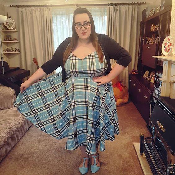 Hell Bunny blue Aberdeen tartan plus size dress