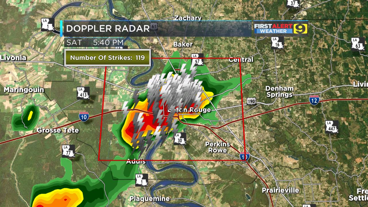 10 showing storms with plenty of lightning extending from the lsu campus northward through downtown baton rouge
