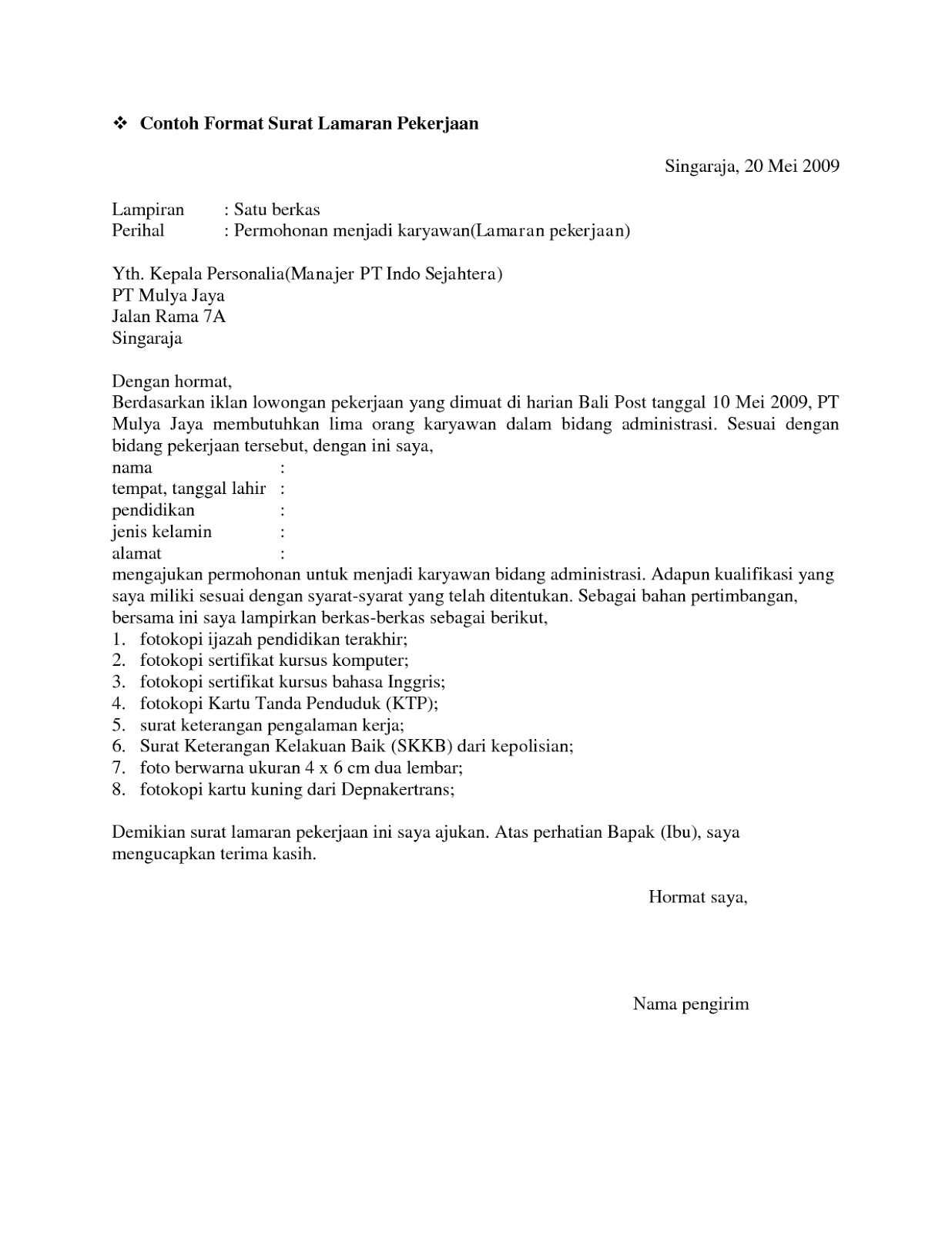 Contoh Surat Lamaran Kerja Waitress Dalam Bahasa Inggris Dan