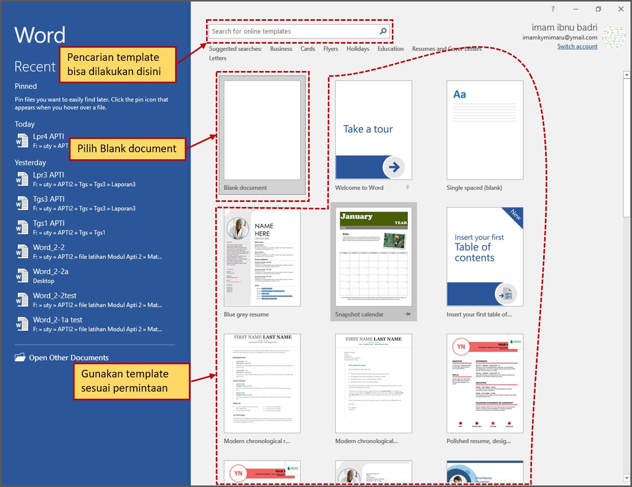 """Gambar 2 Membuat """"New Blank documents"""" dan """"using template"""""""