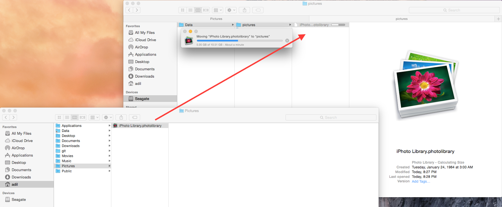 Adil Hindistan's Technology Blog: How to move iPhoto Library to a