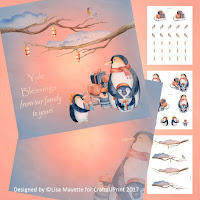 Winter Holiday Penguins Card Making Kit