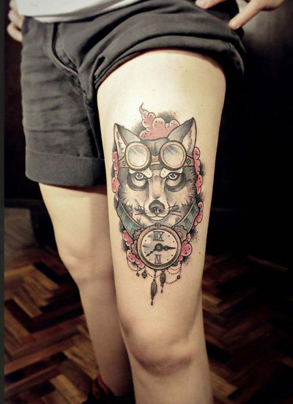 steampunk wolf tattoo