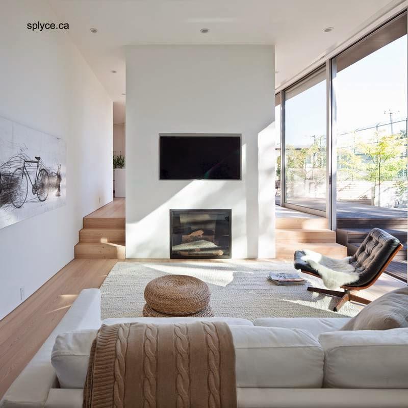 Sala de estar con chimenea en open plan