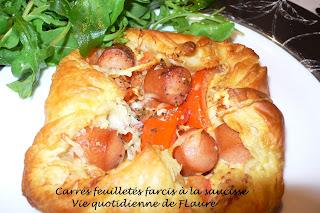 Vie quotidienne de FLaure: carrés feuilletés farcis à la saucisse