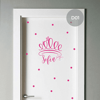 vinilo decorativo puerta infantil corona coronita princesa