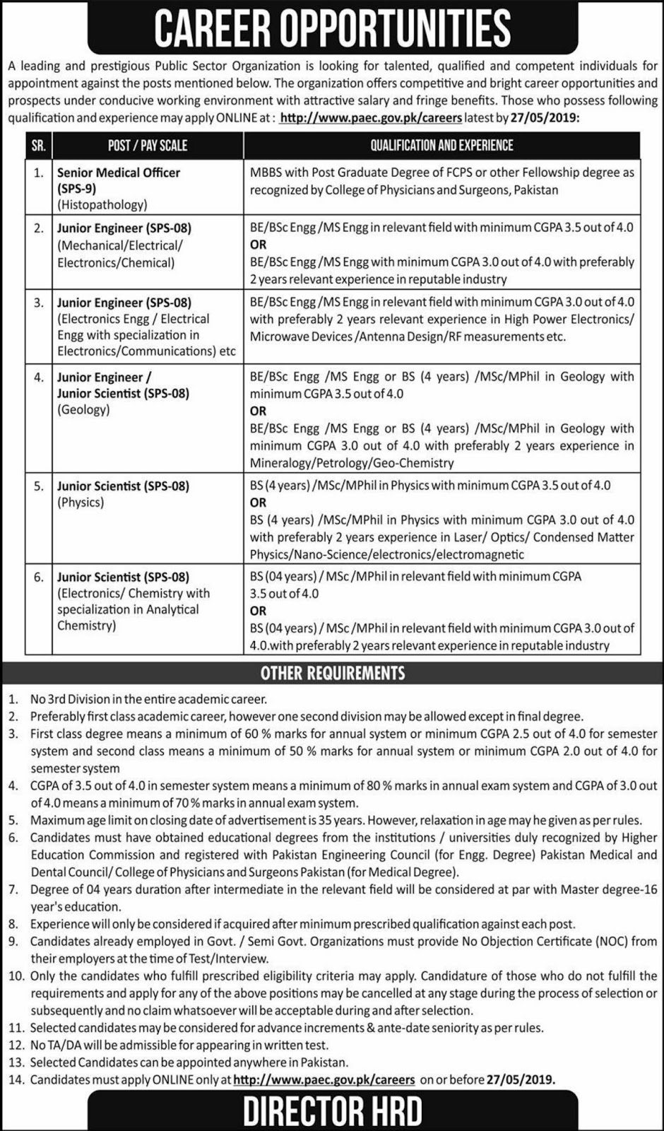 Pakistan Atomic Energy Commission PAEC Jobs 2019