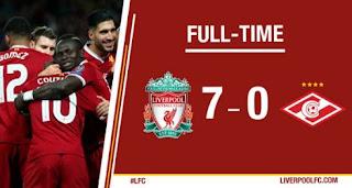 Bantai Spartak Moskow 7-0, Liverpool ke 16 Besar Liga Champions