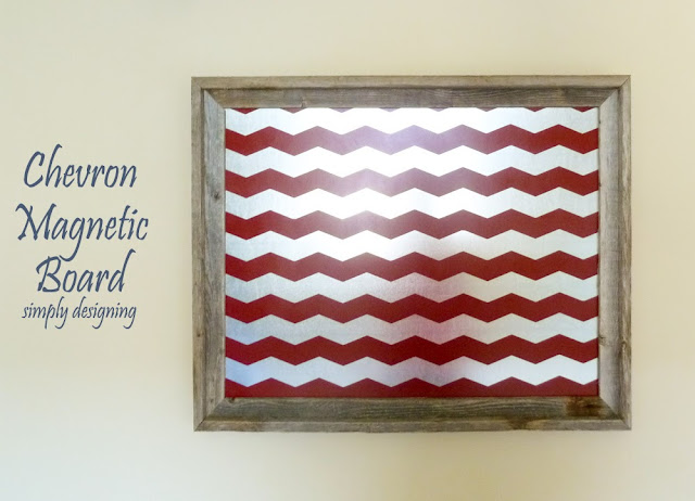DIY Chevron Magnetic Bulletin Board   includes a full tutorial on how to create this project   from Simply Designing   #diy #chevron #organization