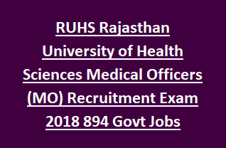 RUHS Rajasthan University of Health Sciences Medical Officers (MO) Recruitment Exam Notification 2018 894 Govt Jobs