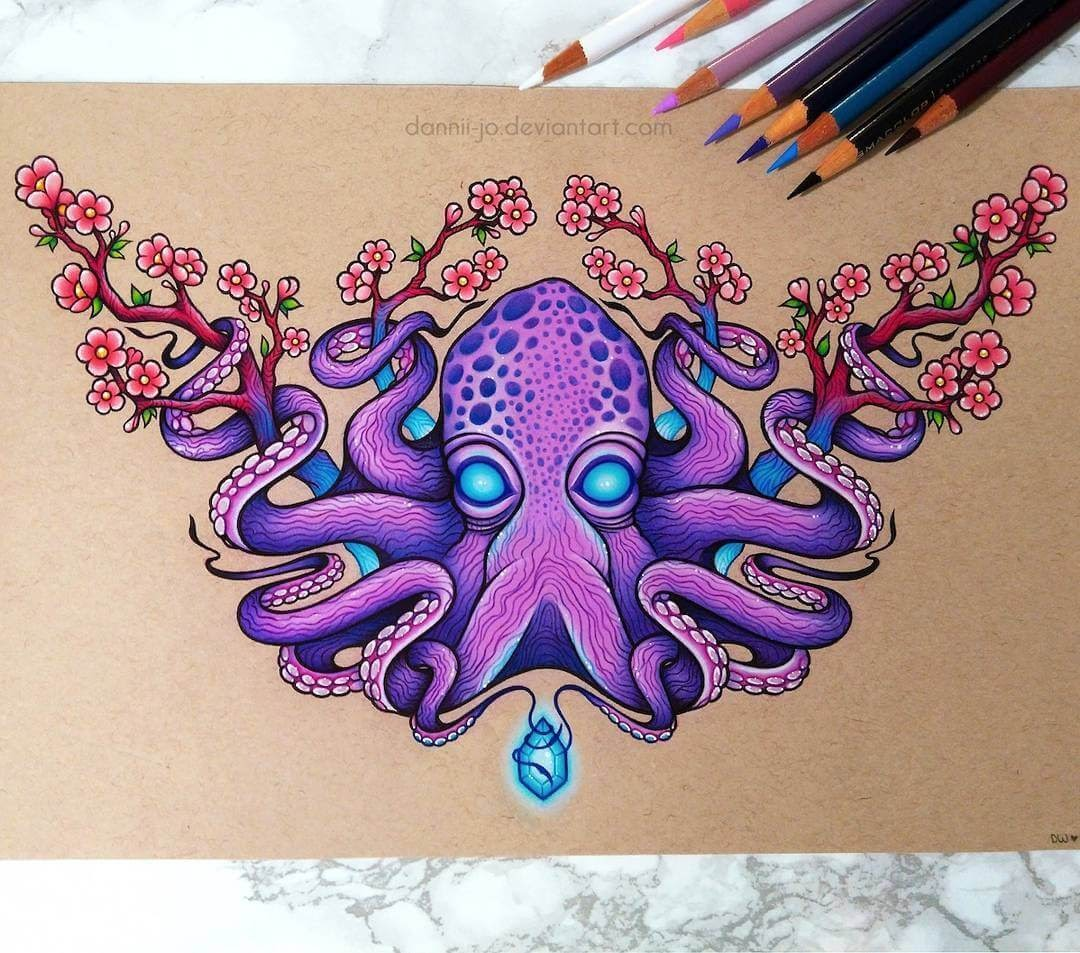 10-Octopus-and-the-Jewel-Danielle-Washington-Brightly-Colored-Pencil-Drawings-www-designstack-co