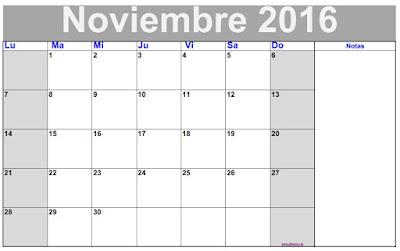 Calendário Mes de noviembre 2016 para imprimir. Calendário planificador mensual de noviembre 2016 en blanco y negro.