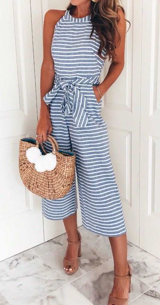 fashion trends / stripped jumpsuit + bag + nude heels