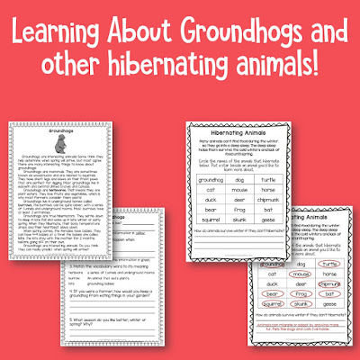 """Science and Social Studies for February: This resource helps you find time for Science and Social Studies by including Groundhog Day, hibernating animals, Valentines Day, Super Bowl, and Presidents Day into """"easy to prepare"""" lessons!"""