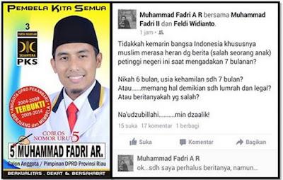 postingan fitnah kader PKS kepada anak Jokowi