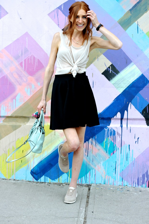 Geox Nebula sneaker, sporty date night look, Coach mint mini cross body