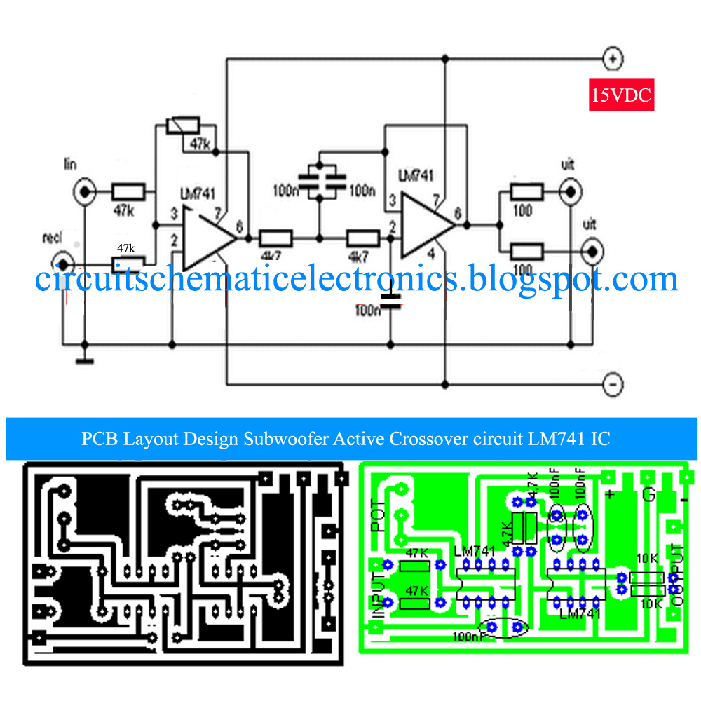 hight resolution of subwoofer active crossover with lm741 ic