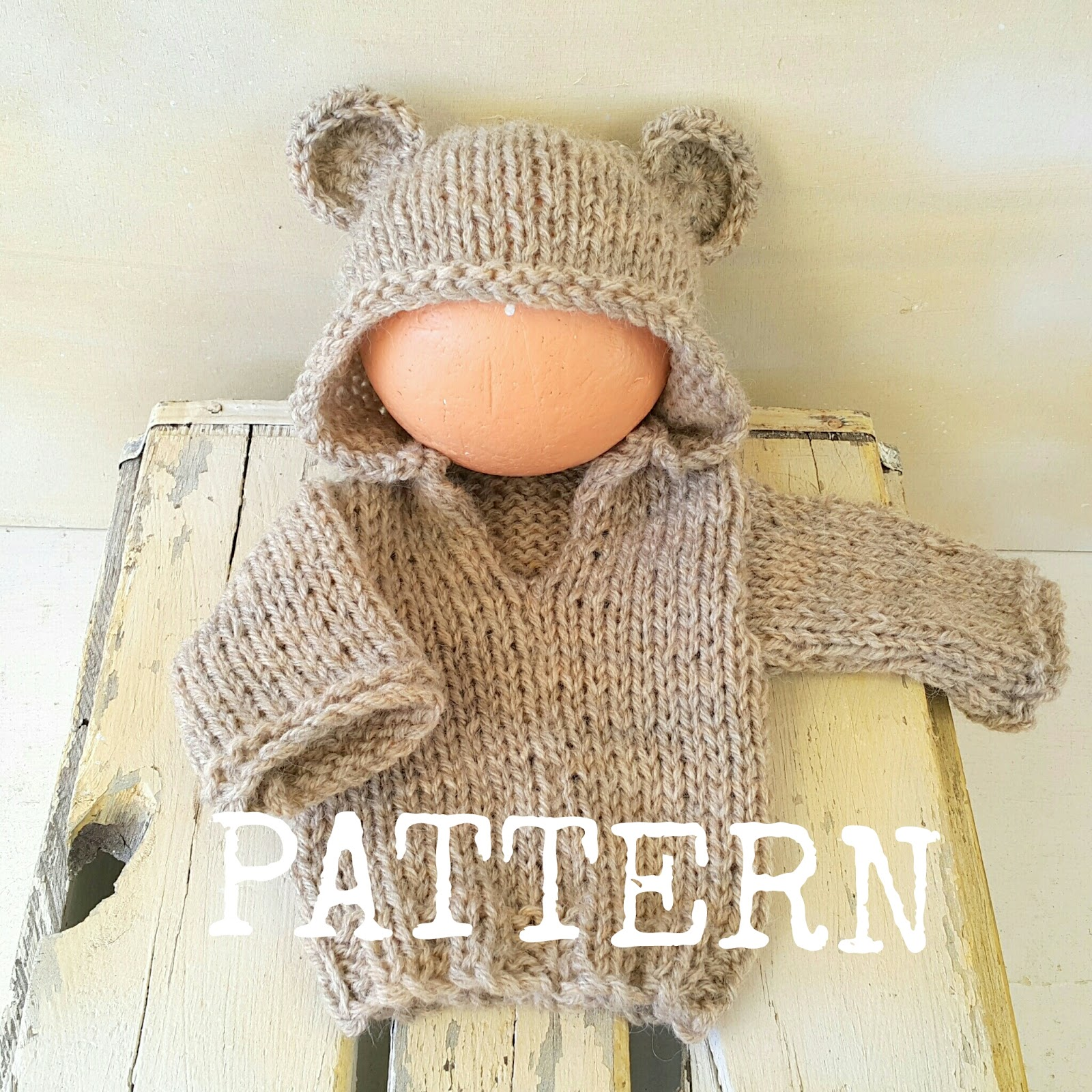 Knitting Pattern Bear Jumper : Crafty Stuff Baby Knits and Photo Props: Baby Bear Hoodie Sweater Knitting Pa...