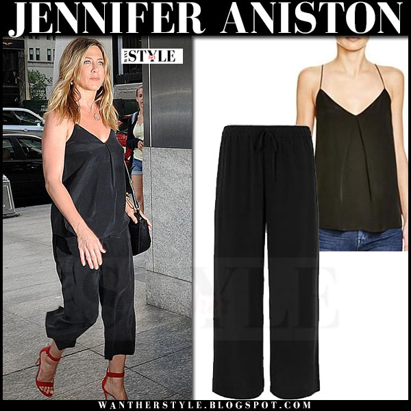 Jennifer Aniston in black silk top and black silk crop trousers joie what she wore streetstyle