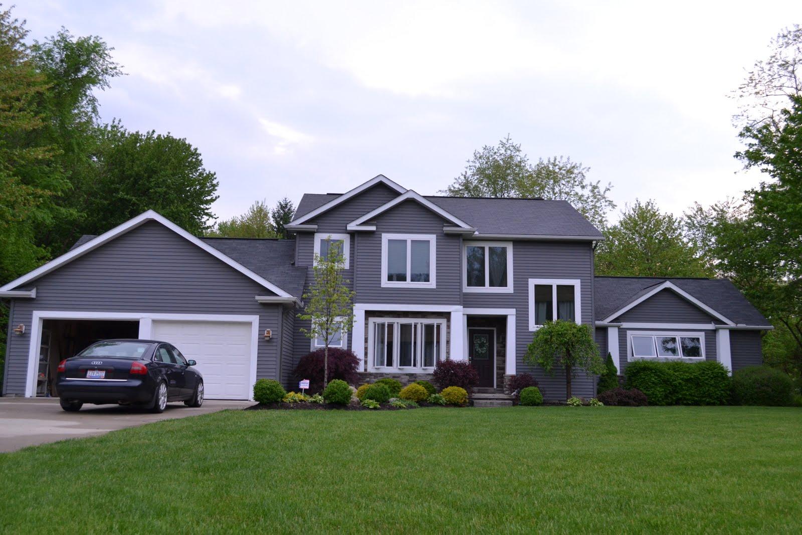 De jong dream house exterior - White house gray trim ...