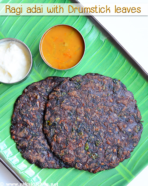 Ragi-adai-with-drumstick-leaves