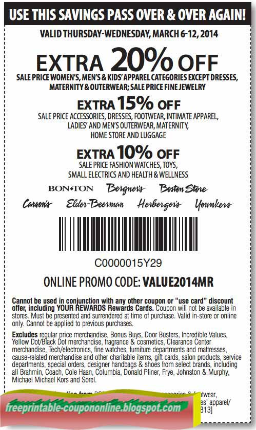 photograph relating to Elder Beerman Printable Coupon titled Carson printable discount codes blogspot : Harcourt outlines discount coupons