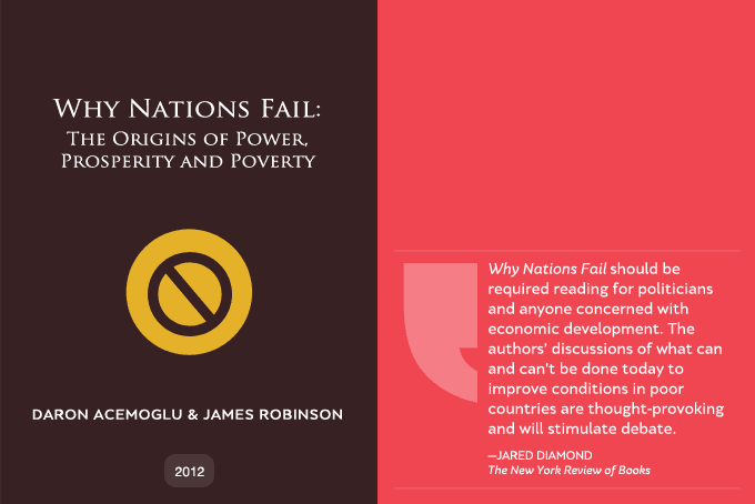"""why some nations fail Indeed, some very prominent economists argue that when these particular institutions are missing or broken, then it explains """"why nations fail"""" once again, i find that they take us only part of the way to explaining success and failure in s&t."""