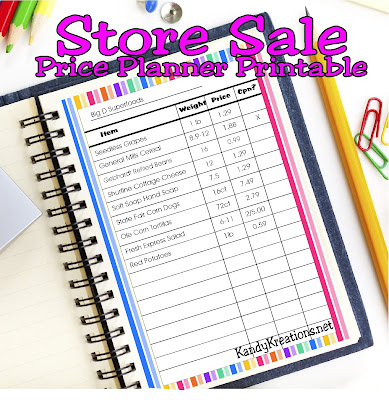 Store Sale Price Planner Printable by KandyKreations