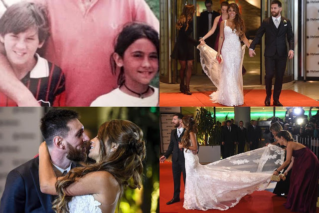 The couple, who have known each other for some 25 years, banned mobile phones at the event. Staff were also sworn to secrecy and 450 police officers were drafted in for the big day.    Samuel Eto'o was the first guest to walk along the red carpet and past the world's press, followed by Aguero and girlfriend Karina, Cesc Fabregas and fiance Daniella Seeman, Antonella's best friend, and Argentine national team player Ezequiel Lavezzi.   Barcelona teammate Neymar arrived on his own because, according to Argentinian media, he proposed to girlfriend Bruna Marquezine and she said no.   Women guests were reportedly encouraged to bring three dresses to avoid clashes or repeats of clothes, or even colours and textures, while male guests were told to take three different types of shirts.