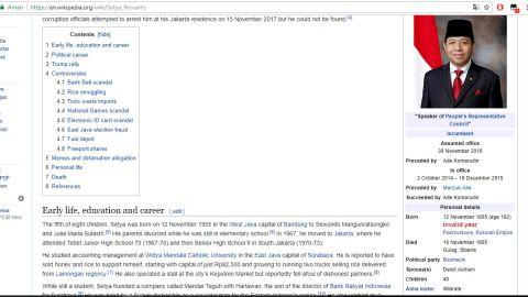 "WADUH! Siapa Pemberani yang Edit Nama Papa Setnov Jadi ""Setya No Fun Tho"" di Wikipedia Inggris?"
