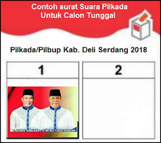 Contoh surat suara calon tunggal untuk Pilkada Deli Serdang 2018