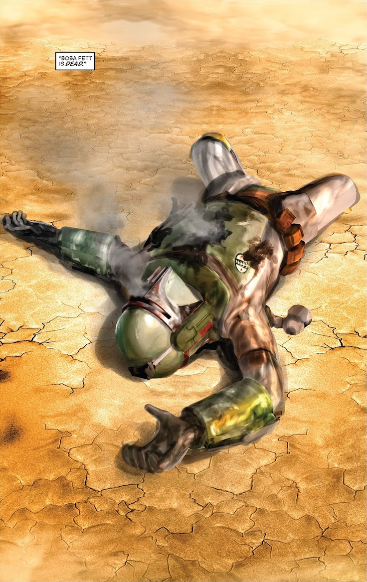 Armored figure of Boba Fett with blaster damage to his smoking torso lying prone on cracked dry ground with caption 'Boba Fett is dead.'