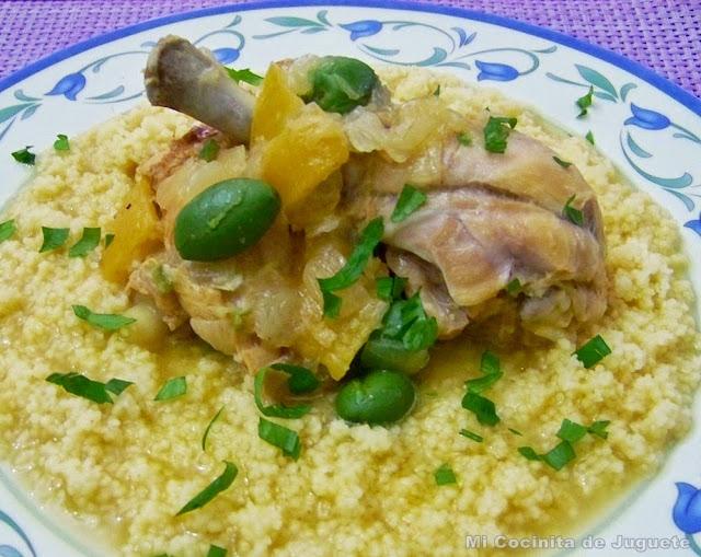 Tajine de Pollo con Aceitunas y Limones Confitados