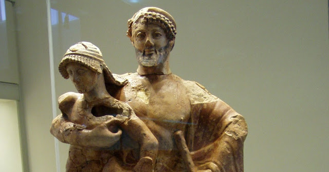 Zeus and Ganymede Terra Cotta Statue; Late Archaic; Olympia Archeological Museum