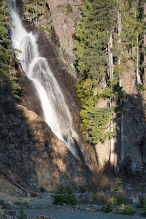 The waterfall marking a section of logging road on our way to Alexandra Peak