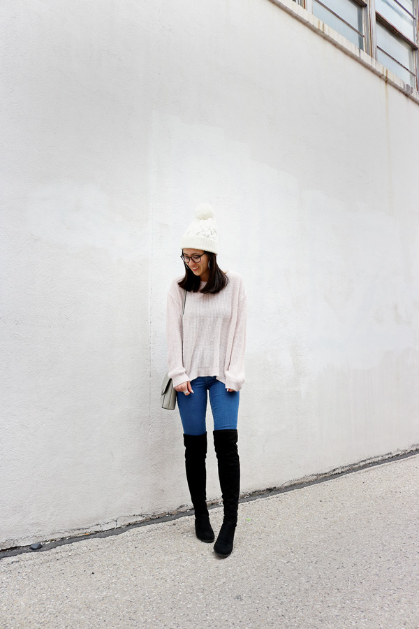 Blush Pink Sweater Over the Knee Boots Jeans