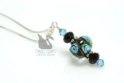 Aqua Flower Lampwork Crystal Pendant Necklace (P02)