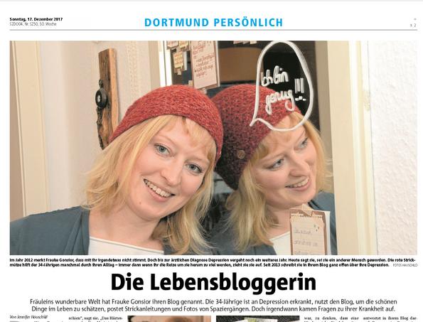 Ruhr Nachrichten digitale Sonntagsausgabe Depression Blog Lebensbloggerin Dortmund Fräuleins wunderbare Welt