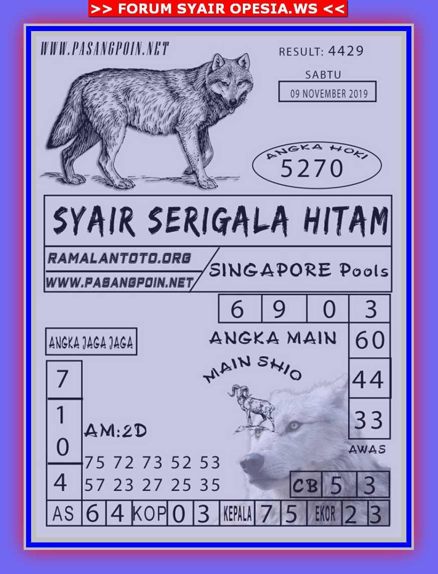Kode syair Singapore Sabtu 9 November 2019 77