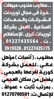 وظائف وسيط الاسكندرية -مندوب مبيعات