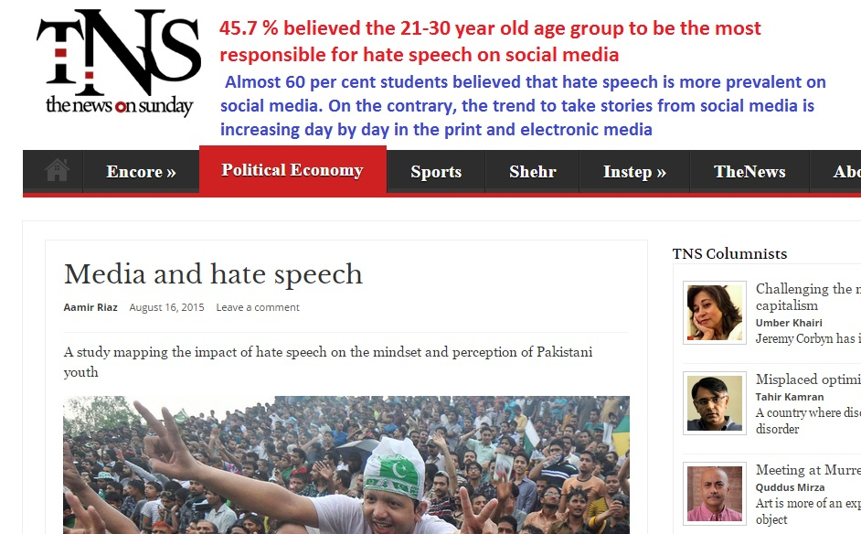 Hate speech & Pakistani Youth: De-constructing myths | Punjab Punch