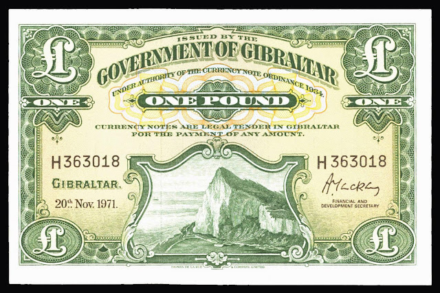Gibraltar Banknotes 1 Pound note 1971 Rock of Gibraltar