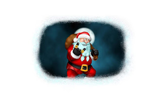 Bad Santa Claus with bag cartoon picture - 2560x1600