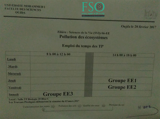 SVI S6 EE : Pollution des Écosystèmes - Emploi du temps du TP