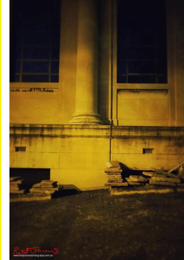 Still life, old church at night, grand columns.. Photo by Kent Johnson.
