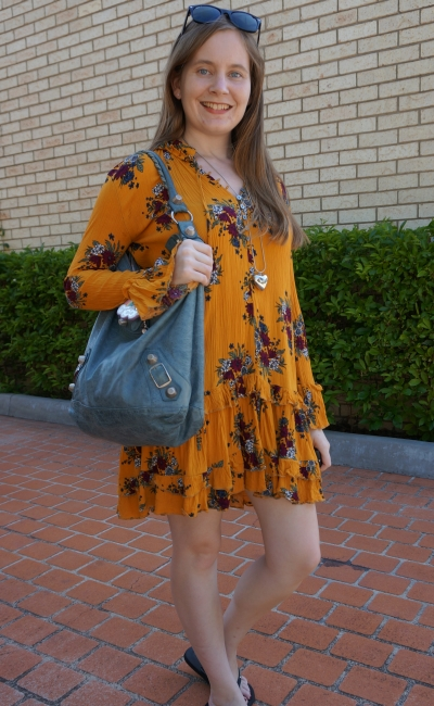 Zaful floral print ruffle hem dress in ginger mustard swing with Balenciaga tempete day bag | awayfromblue