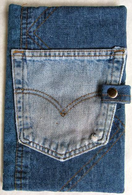 capa para caderno de jeans reciclado