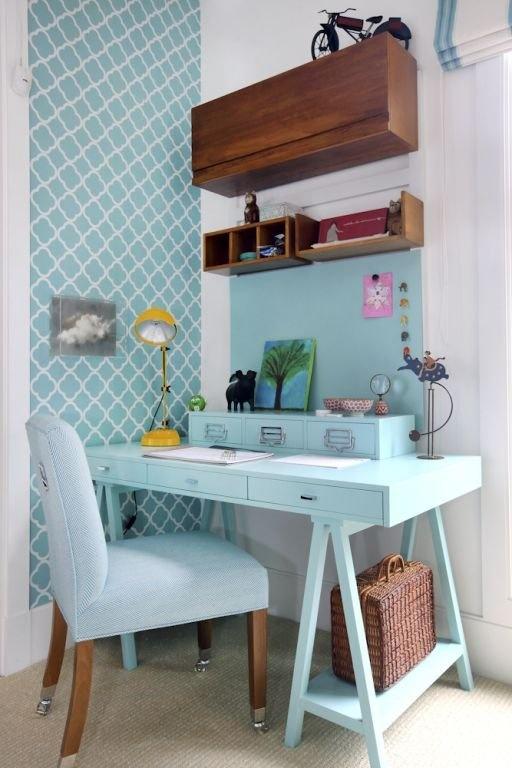 Decoração de home office pequeno turquesa. Blog Achados de Decoração