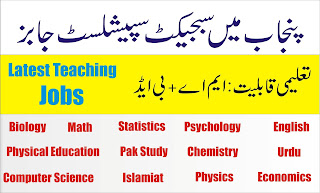 Latest Subject Specialist Jobs In Punjab