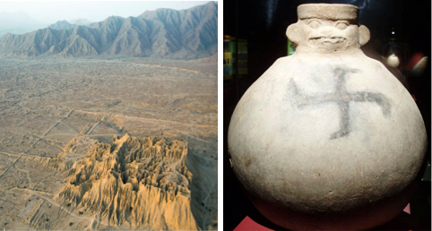 Left: The remains of the Moche-Sican mud-brick pyramid in Lambayeque. Right: The swastika-adorned pottery vessel found in the pyramid